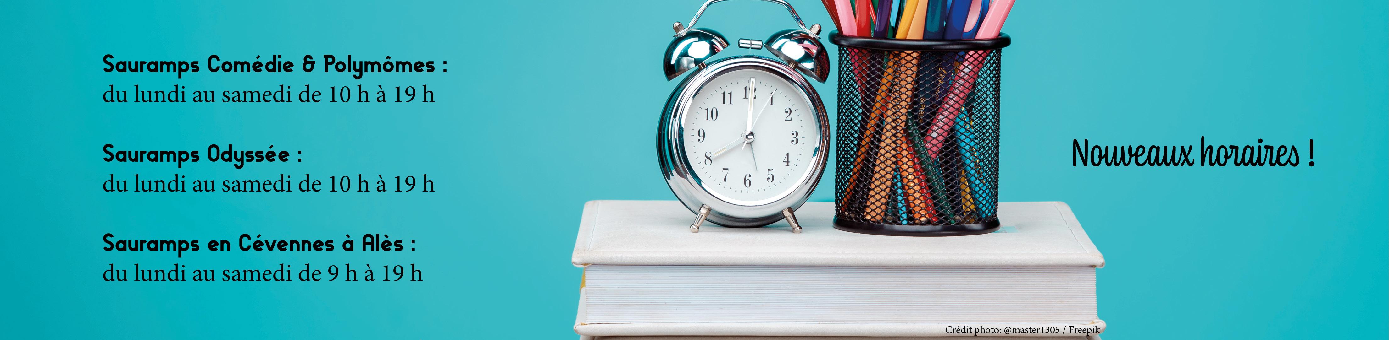 Nouveaux horaires de vos librairies Sauramps - Mai 2020