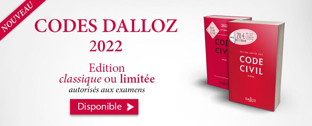Codes Dalloz 2022 disponible