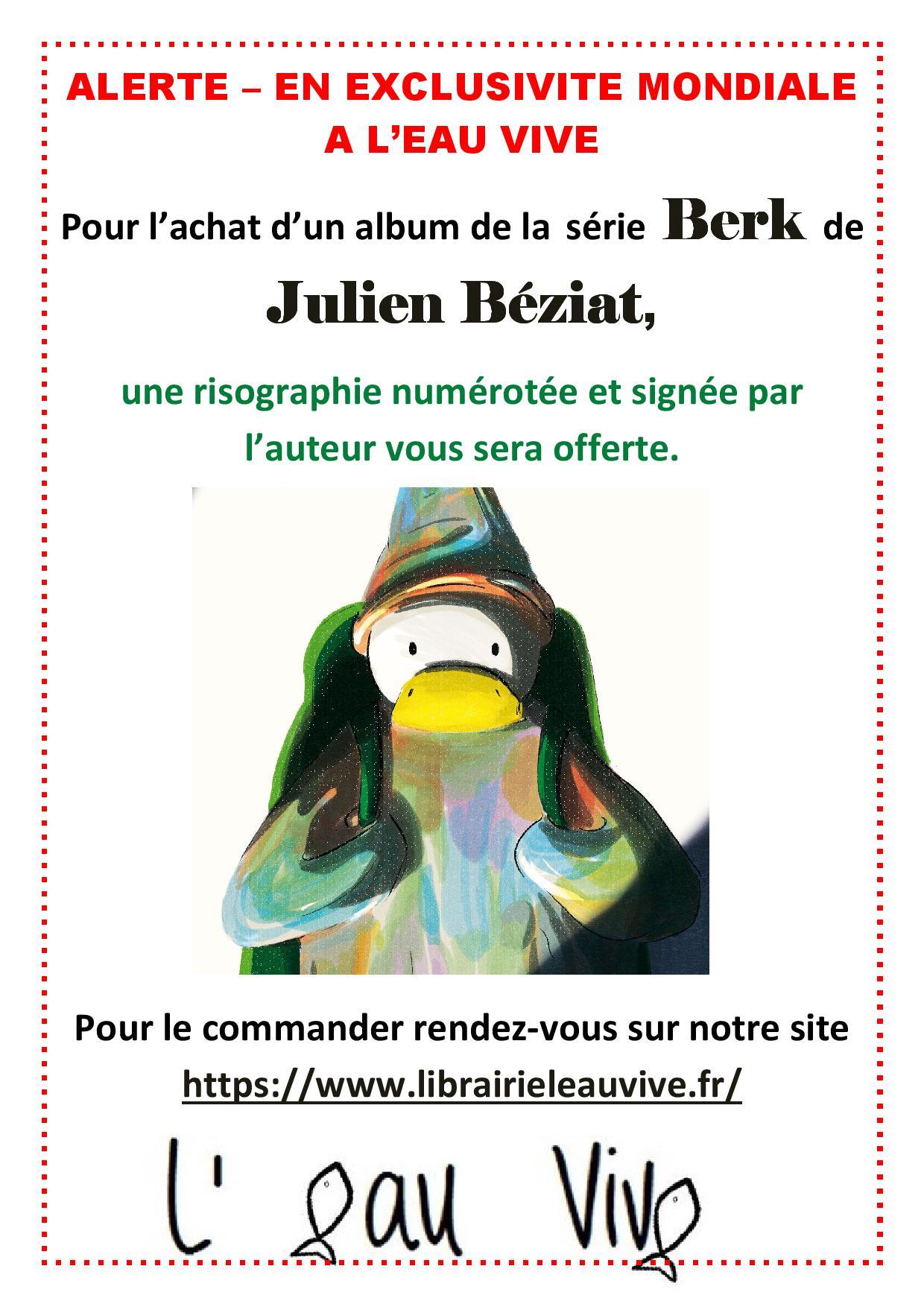 Une affiche offerte pour l'achat d'un album des aventures de BerK