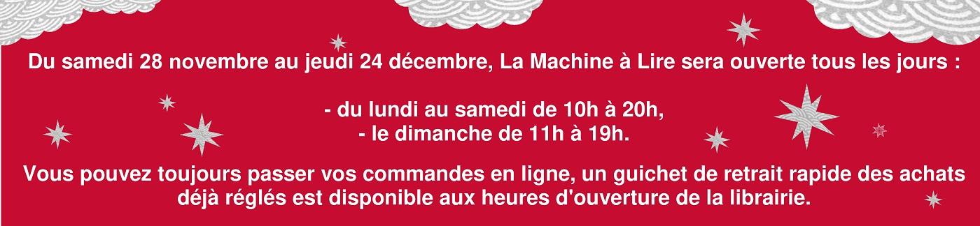 les horaires de La Machine à Lire pour le mois de décembre