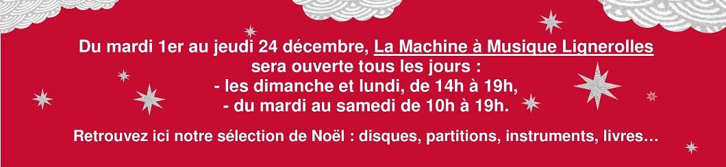 les horaires de La Machine à musique au mois de décembre