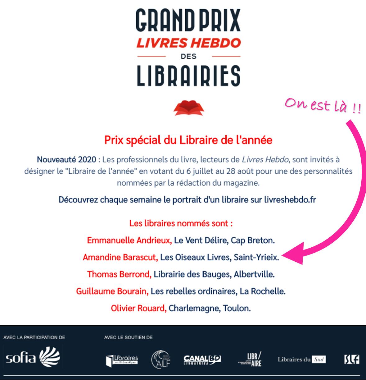 Votre libraire sélectionnées pour le Prix Spécial du Libraire de l'année de Livres Hebdo !!