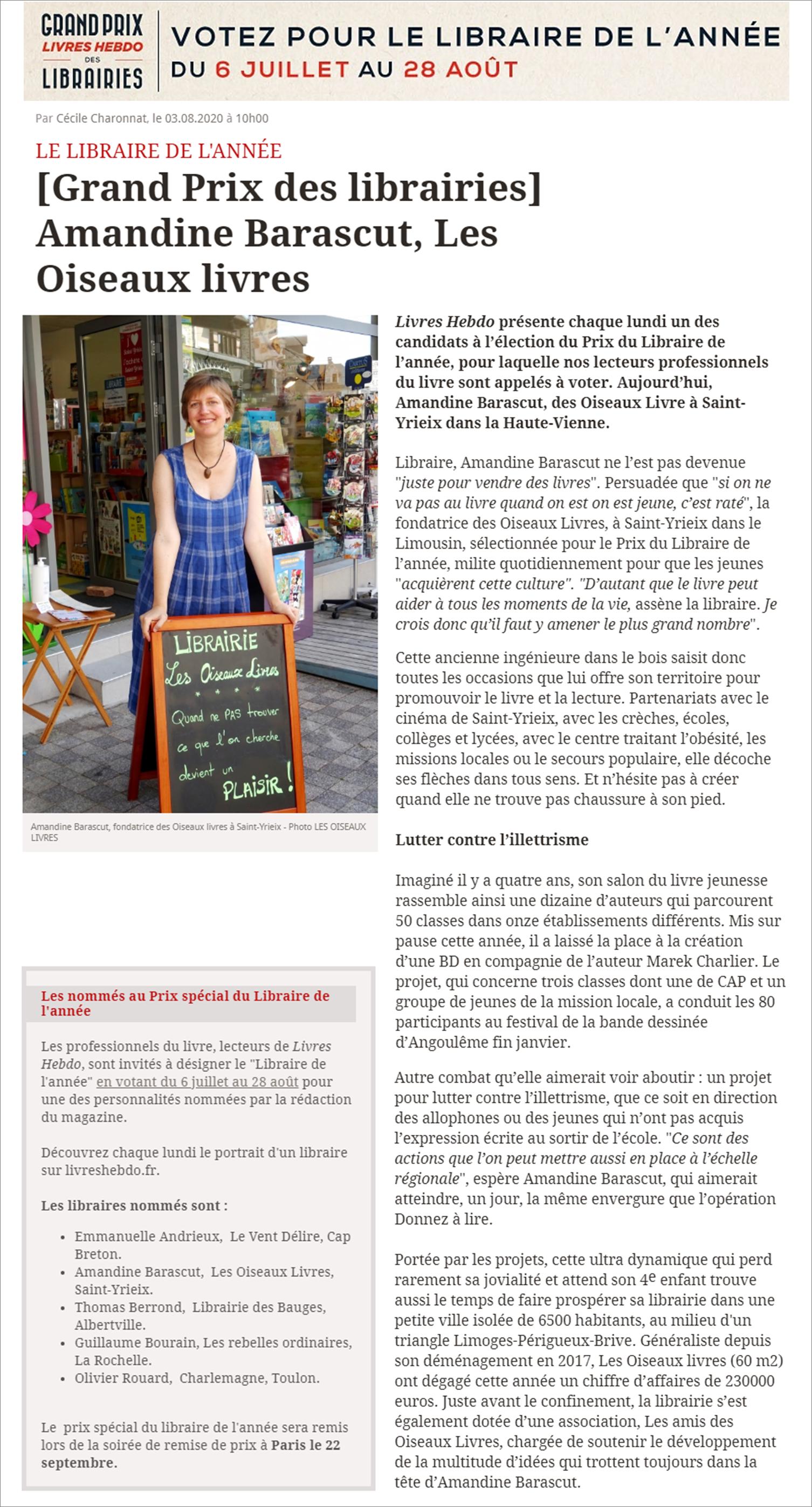 Votre libraire sélectionnée pour le Prix Spécial du Libraire de l'année de Livres Hebdo !!