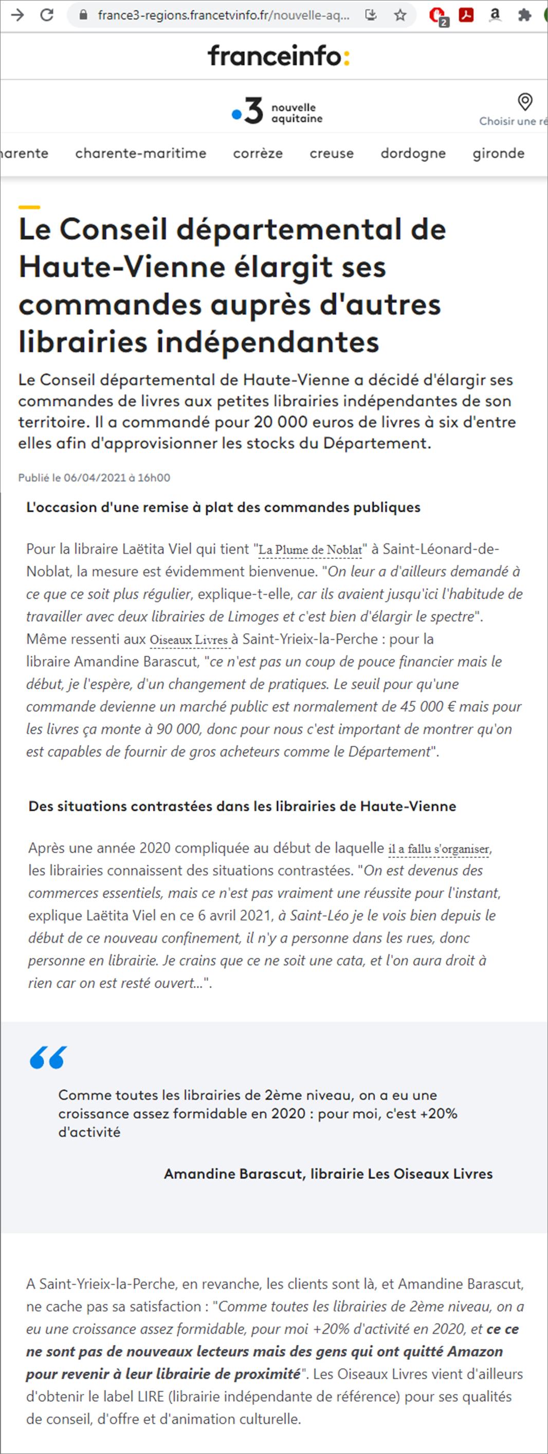 Article France3 Achats de livres du Conseil départemental de la Haute-Vienne aux librairies du territoire